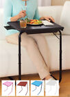 tv tables white - Portable TV Tray Table w/Cup Holder - Adjustable Folding Multipurpose Table Maid
