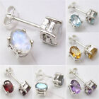 925 Solid Silver Real Gemstones Prong Setting STUD Earrings, Anniversary Gift