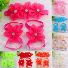 3pc/set Baby Girl Kids Barefoot Sandals Shoes Headband Crystal Flowers Foot Band