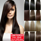 7pcs 15' 18' 20' 22' Clip In Remy Real 100% Human Hair Extensions Full Head N206