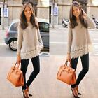 Fashion Women's Jump long Sleeve lace Blouse Loose T Shirt Sweater Pullover Gift