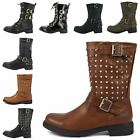 WOMENS LOW BLOCK HEEL LACE UP ZIP BIKER COMBAT ARMY MILITARY ANKLE BOOTS SIZES