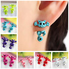 Womens Trendy Charm 3D Kitten Multiple Color Ear Jewelry Cat Stud Earrings