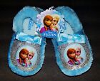 DISNEY FROZEN ANNA & ELSA Girls Faux-Fur Plush Slippers NWT Toddler's Size 5/6