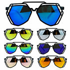 SA106 Womens Mirror Lens Art Deco Plastic Aviator Sunglasses