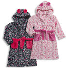 Girls Forever Dreaming Heart Print Hooded Dressing Gown Soft Robe In 2 Colours