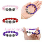 8mm Awesome Women Quartz Agate Flower Beads Stretchy Bracelet Gift Gemstone