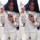 New Fashion Women White Casual Loose Long Sleeve Lace T Shirt Tops Blouse Casual