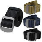 Fashion Men Boys Military Canvas Waistband Belt With Double D Ring Metal Buckle