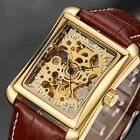 OUYAWEI Luxury Men's Watch Sport Military Mechanical Automatic Leather Strap