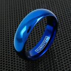 6mm Tungsten Ring Blue Plain Polished Wedding Band Jewelry Size 5-14