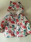 NWT Gymboree Flower Power Color Happy Hooded Coat Zip-Up Puffer Jacket 2T-3T