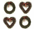 Large Green & Red Berry Heart or Round Christmas Wreath Hanging Door Decoration