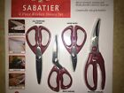 Sabatier 4-Piece Kitchen Shears Set All Purpose Red Bent Poultry Herb