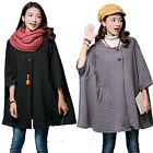 Autumn Winter Women Loose Large Size Bat Sleeve Cardigan Jacket Windbreak Coat