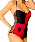 Harley Quinn Batman Red Black Mesh Side Lace Up Back Monokini One Piece Swimsuit