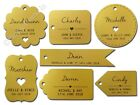 Individually Personalised Shimmered Gold Wedding Favour Gift Tag with Guest Name