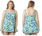 A SHORE FIT Womens Plus One Piece Swimsuit Abstract Nylon Spandex size 22W NEW