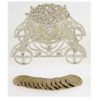 RHINESTONE CRYSTAL CARRIAGE ARRAS BOX WITH 13 COINS TOKENS SET FOR WEDDING