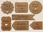 Individually Personalised Kraft Wedding Favour Gift Tags with Guest Name