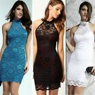 Halter Open Back Floral Lace Fitted Women's Night Out Club Party Bodycon Dress