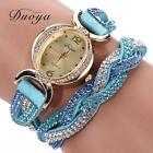 Women Fashion Bacelet Watch Leather Strap Crystal Stainless Steel Wrist Watches