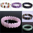14mm Faceted oval gemstone beads stretchable bracelet 7.5""