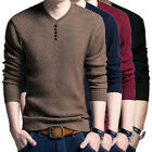 Hot Pullover Men V Neck Sweater Long Sleeve Shirt Sweaters Wool Casual Knitwear