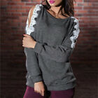 Women Fashion Sweater Off Shoulder Lace Hollow Piullover Blouse TopOutwear