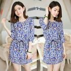 Vintage Style Paisley Print Ethnic Multicolor Tunic Women Mini Dress Two Pockets