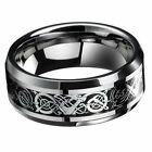 Popular Men's Silver Celtic Dragon Titanium Stainless Steel Wedding Band Rings