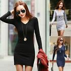 3 Color Women Winter V-Neck Long Sleeve Solid Knitted Dress Autumn Office
