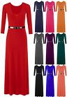 Womens 3/4 Sleeves Ladies Celebrity Plain Stretchy Flared Swing Long Maxi Dress