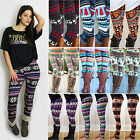 Women Xmas Snowflake Reindeer Knitted  Leggings Skinny Pencil Pants Trousers