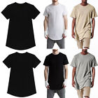 Mens longline curved hem t-shirt tops street fashion long body tee tallelongated