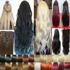 100% Thick Clip In Hair Extensions Curly Straight Wavy 3/4 Full Head Brown Black