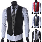 Mens Casual Formal Slim Fit Blazer Waistcoat Party Dress Vest For Suit Black Red