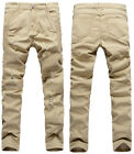 Fashion Mens Slim Fit Pleated Ripped Straight Pants Biker Jeans Trousers Khaki