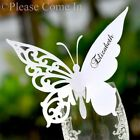 Personalised Laser Cut White Butterfly Place Cards for Wine Glass Wedding/Party