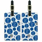 Luggage Suitcase Carry-On ID Tags Set of 2 I Love You More Script Cursive