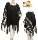Urban Black Wool Knit Poncho Tribal Aztec Fringe Pullover Oversized Sweater Top
