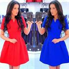 Women V-neck Short Sleeve Casual Solid Color Basic Flared Dress Party Slim