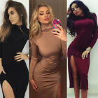 Women Bandage Bodycon Slim Long Sleeve Evening Cocktail Pencil Mini Dress KA