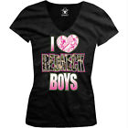 I Love Redneck Boys Pink Heart Camo Southern South Pride Juniors V-neck T-shirt