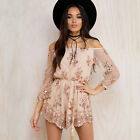 Women Slash Neck Jumpsuits Lace Crochet Long Sleeve Romper One Piece Trousers
