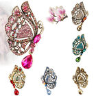 1Piece Sale Women Lady Vintage Charm Butterfly Crystal Rhinestone Brooch Pin