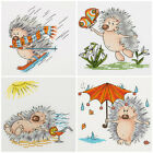 Counted cross stitch kit  KLART Winter Spring Summer Autumn Funny Hedgehog