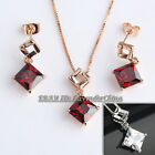 A1-S136 Fashion CZ Simulated Ruby Earrings Necklace Jewelry Set 18KGP Crystal