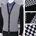 New Mod Relco 60's Heavy Gauge Knit Checkerboard Cardigan Black / White