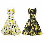 Summer Women Retro Style 50s 60s Lemon Leaf Pinup Rockabilly Party Swing Dress